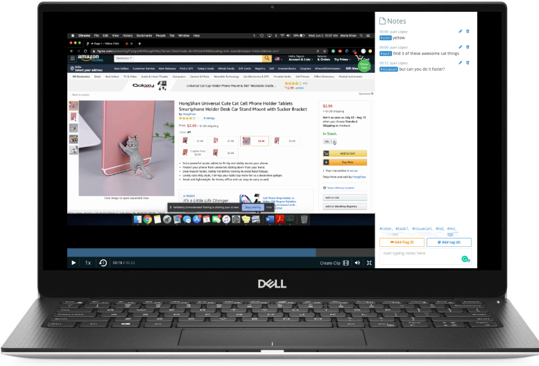 image of a Dell computer showing a full screen video and notes section